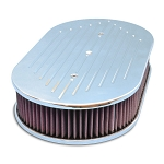 C2 C3 Corvette 1963-1982 Cast Aluminum Oval Ball Milled Top 12in Air Cleaner - Multiple Finishes Available
