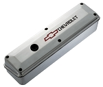 C3 Corvette 1968-1982 Proform Small Block Polished Aluminum Valve Cover -2 Piece - Recessed Red Bowtie and Black Chevrolet