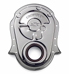 C3 C4 Corvette 1968-1990 Proform Big Block Chrome Street Timing Chain Cover - Chevrolet and Bowtie Embossed