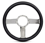 Linear Billet Steering Wheel w/ Chrome Plated Spokes - Color Options