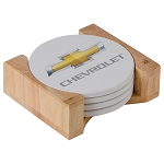 Chevrolet Gold Bowtie Round Stone Coaster Set