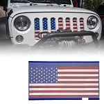 2007-2017+ Jeep Wrangler JK / Unlimited Steel American Flag Mesh Grille Insert - 1pc Direct Fit Design