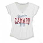 Gen 5 Gen 6 Camaro 2010-2016+ Womens Camaro Dolman V-Neck Tee - White - Size Options Available