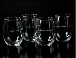 Gen 5 Gen 6 Camaro 2010-2016+ Stemless Wine Glass Set - 12 ounces - Set of 4