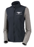 2005-2015+ Ford Mustang Ladies Softshell Full Zip Vest w/ Pony Logo & Script - Gray