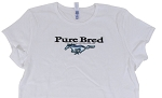 2005-2015+ Ford Mustang Ladies Pure Bred w/ Pony Logo T-Shirt - White