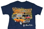 2005-2015+ Ford Mustang Wild Horses Out In The Barn T-Shirt - Blue