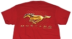 2005-2015+ Ford Mustang 50 Years Gold Pony T-Shirt - Red