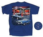 2005-2015+ Ford Mustang Gas Station T-Shirt - Blue