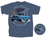 2005-2015+ Ford Mustang On The Road Again T-Shirt - Blue