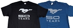 2005-2015+ Ford Mustang 50 Years w/ Pony Logo T-Shirt - Color Options Available