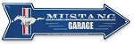 2005-2015+ Ford Mustang Metal Arrow Garage Sign w/ Tri Bar Logo & Mustang Script - Blue