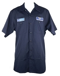 2005-2015+ Ford Mustang Work Shirt w/ Ford Logo / Mustang Logo & Script - Blue