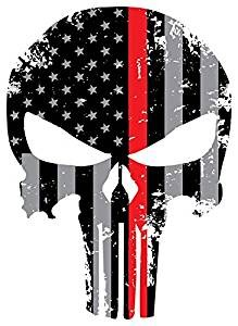 Back Our Heroes Tattered American Flag Punisher Skull Decal - Police, Firefighter/EMT & Military Options