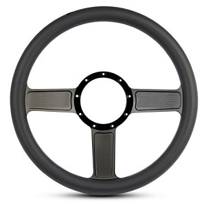 Linear Billet Steering Wheel w/ Gloss Black Spokes and Black Grip