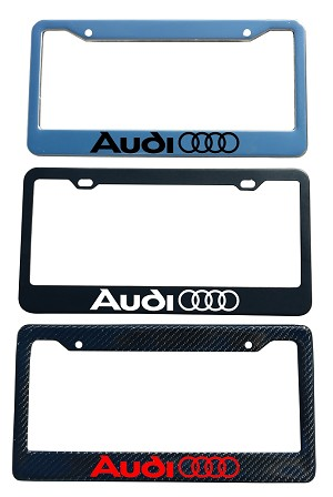 Audi Brand Script License Plate Frame - Color / Finish Selections