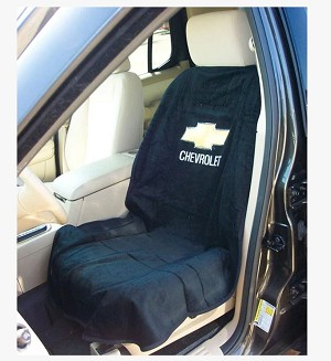 Seat Armour Front Seat Cover Towel w/ Chevrolet Logo - black