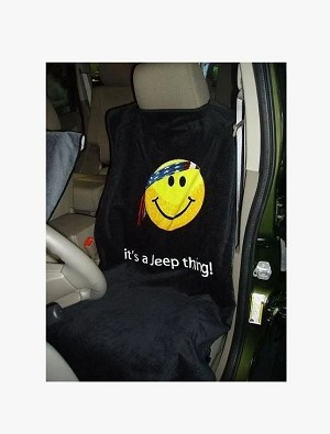 1997+ Jeep Wrangler TJ / JK / JL Seat Armour Front Seat Cover Towel w/ Smiley Face & It's A Jeep Thing Script - black
