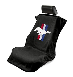 2005+ Ford Mustang Seat Armour Front Seat Cover Towel w/ Pony Logo & Tri-Bars - black