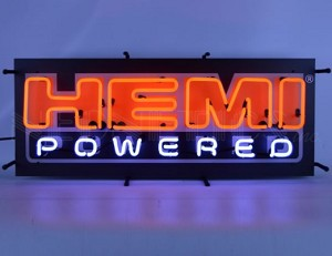 Hemi Powered Red Script Neon Sign