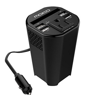 12 Volt Cup Holder Charger Power Adapter w/ 4 USB Outlets - 1 DC Outlet - 1 Cooling Fan