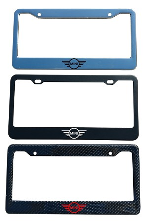 Mini Brand Script License Plate Frame - Color/Finish Selections